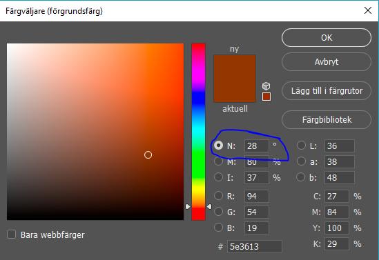 Dialog i photoshop på färgväljarverktyget