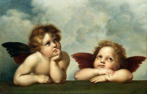 Bild på två änglar från Michelangelos målning