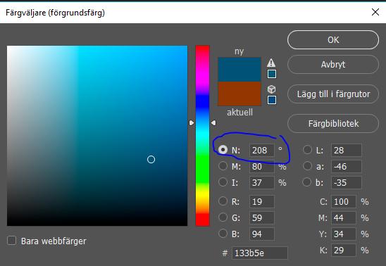Dialog i photoshop på färgväljarverktyget som visar komplementfärgen till ursprungsfärgen
