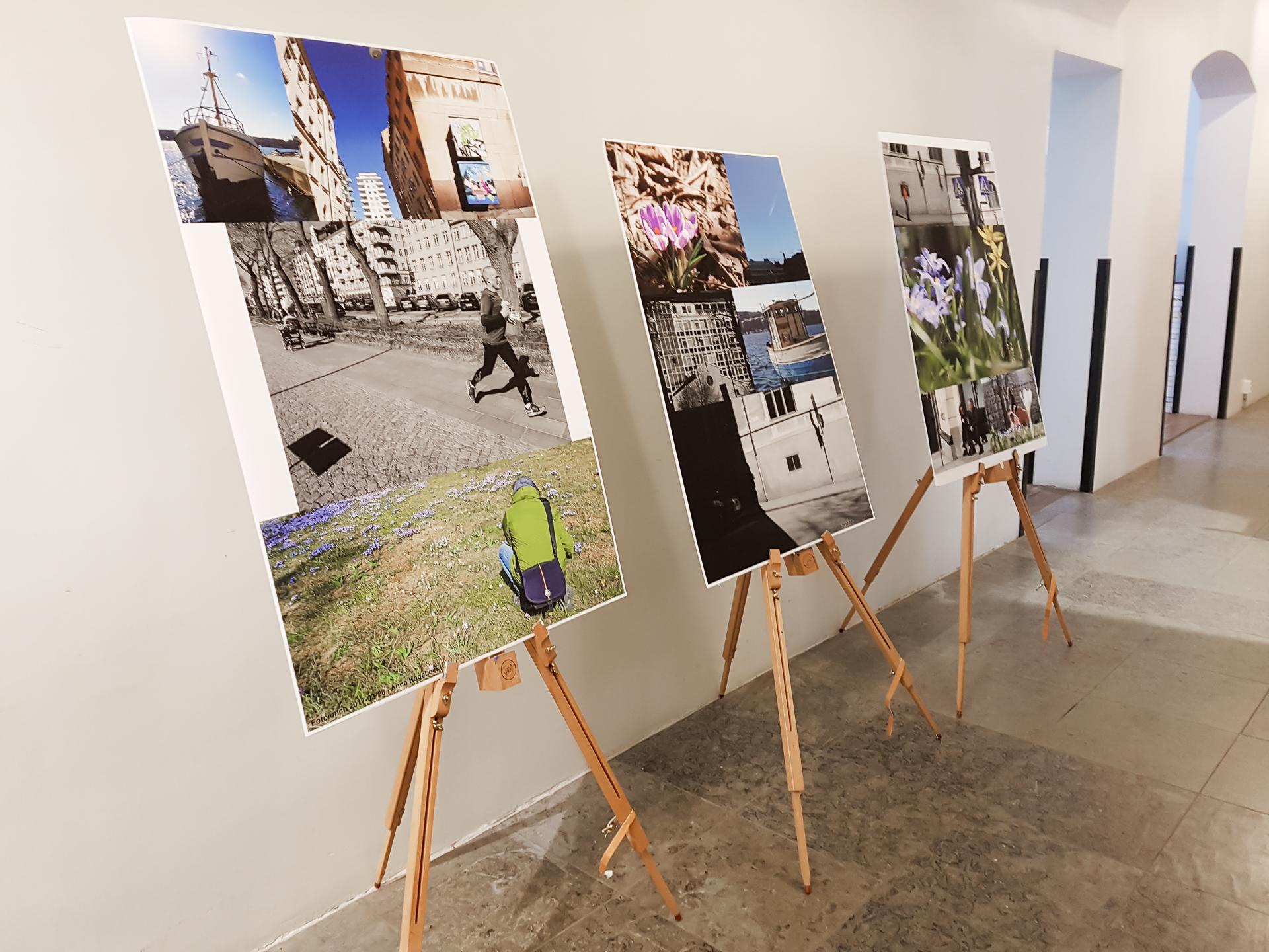Tre stafflier med fem bilder på varje uppställda i en korridor